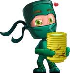 Green Ninja Cartoon Vector Character AKA Takumi - Tea
