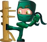 Green Ninja Cartoon Vector Character AKA Takumi - Training
