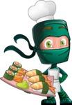Green Ninja Cartoon Vector Character AKA Takumi - Sushi