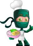 Green Ninja Cartoon Vector Character AKA Takumi - Ramen