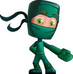 Green Ninja Cartoon Vector Character AKA Takumi - Show 2