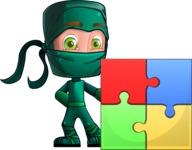 Green Ninja Cartoon Vector Character AKA Takumi - Puzzle