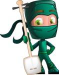 Green Ninja Cartoon Vector Character AKA Takumi - Music