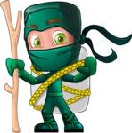 Green Ninja Cartoon Vector Character AKA Takumi - Travel