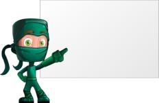 Green Ninja Cartoon Vector Character AKA Takumi - Presentation 1