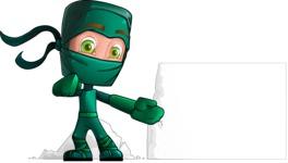 Green Ninja Cartoon Vector Character AKA Takumi - Presentation 3