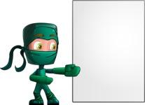 Green Ninja Cartoon Vector Character AKA Takumi - Presentation 4