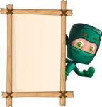 Green Ninja Cartoon Vector Character AKA Takumi - Presentation 5