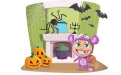 Halloween Kid in a Spooky Room