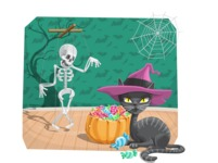 Halloween Black Cat and Skeleton