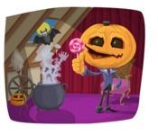 Jack-o-lantern and Ghost Halloween Illustration