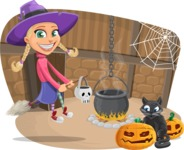 Cute Witch Girl Next to Cauldron