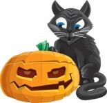 Black Cat and a Jack-O-Lantern