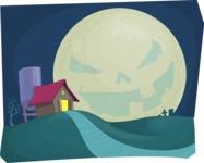 Halloween Night with a Creepy Moon