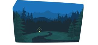 Night Mountain Scenery Illustration
