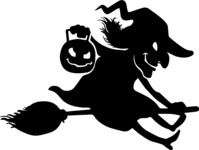 Creepy Witch on Broom Silhouette
