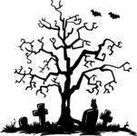 Spooky Tree in a Graveyard Silhouette