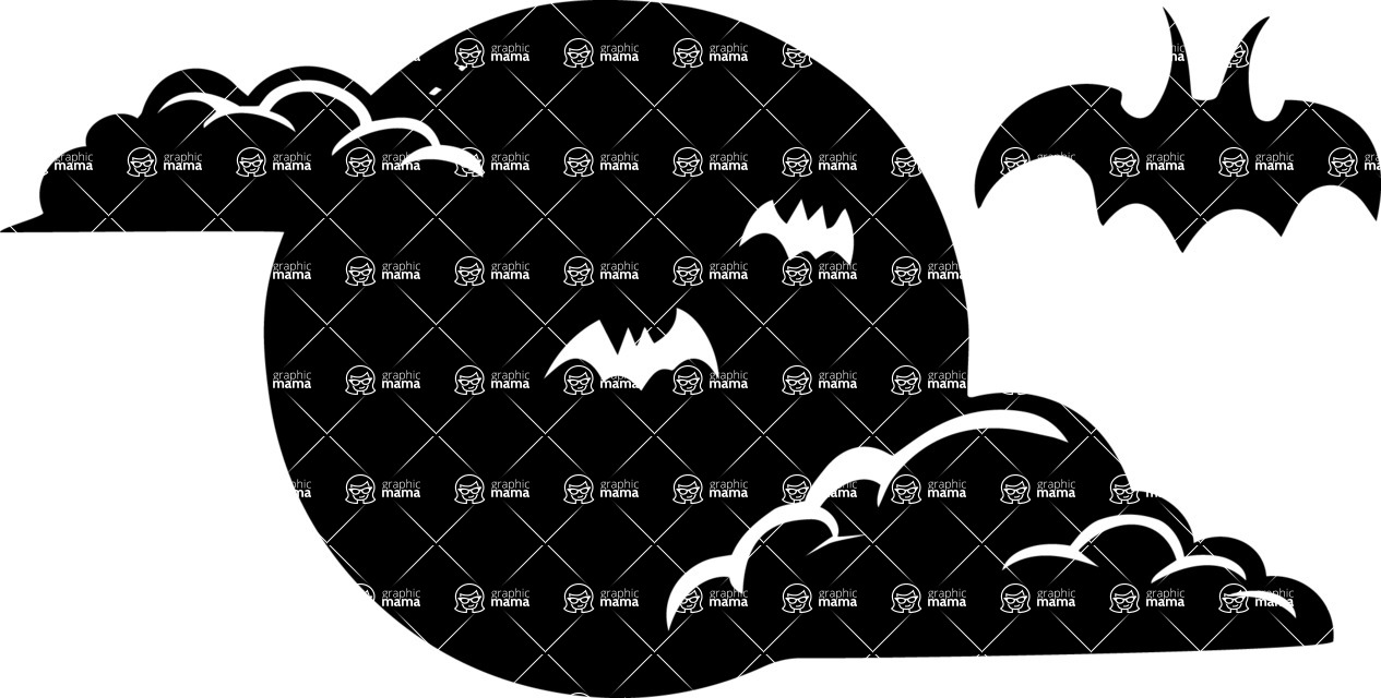 Halloween vector pack - Bats Over Moon Silhouette