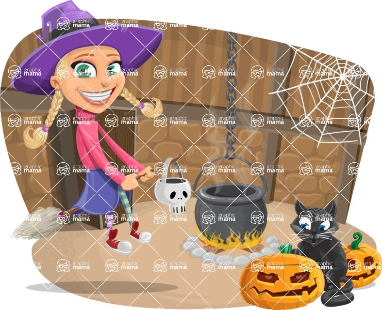 Halloween vector pack - Cute Witch Girl Next to Cauldron