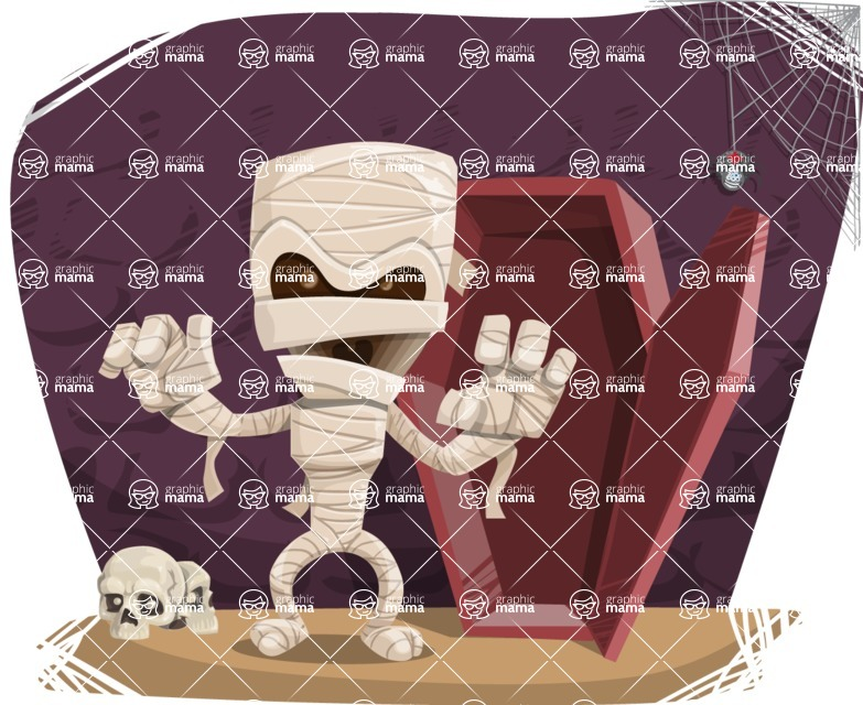 Halloween vector pack - Mummy Out of Coffin