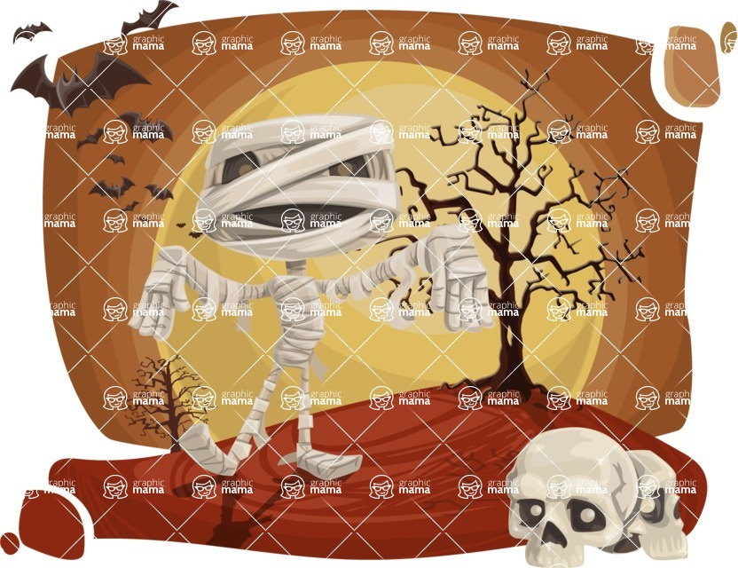 Halloween vector pack - Mummy Walking on Halloween