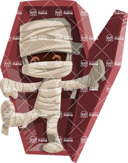 Halloween vector pack - Mummy Walking Out Of Coffin