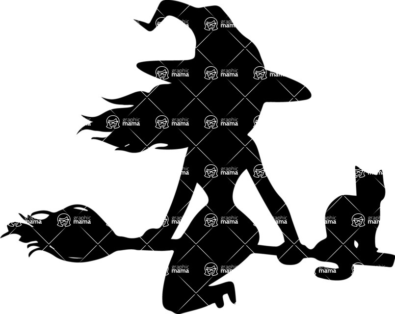 Halloween vector pack - Pretty Witch Riding a Broom Silhouette