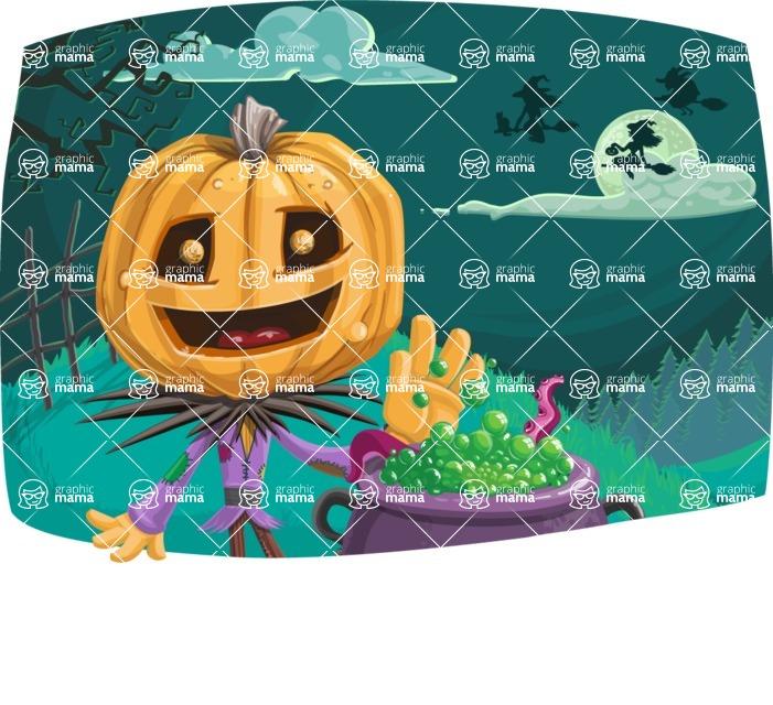 Halloween vector pack - Scarecrow in Halloween Night
