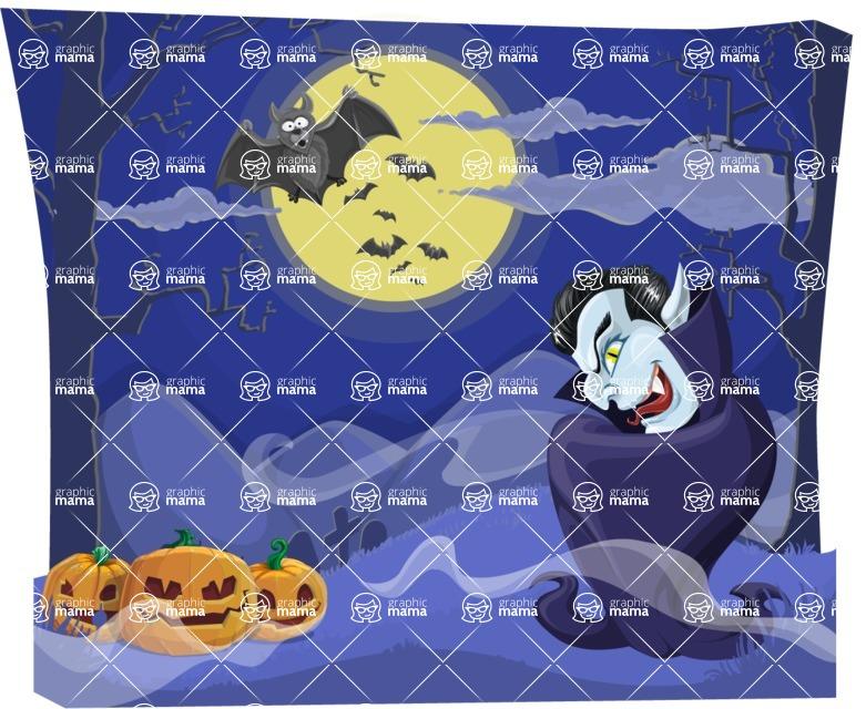 Halloween vector pack - Scary Vampire on Halloween