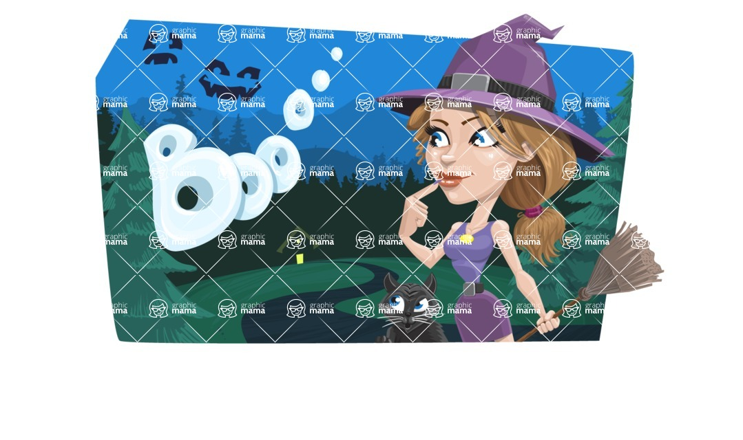 Halloween vector pack - Sexy Witch on Halloween