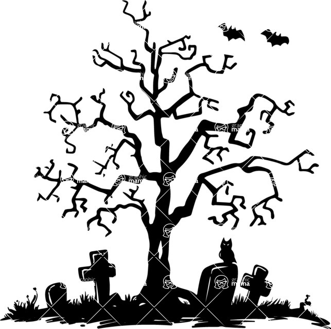 Halloween vector pack - Spooky Tree in a Graveyard Silhouette