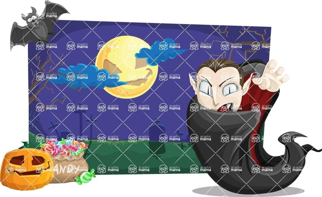Halloween vector pack - Vampire Dracula on Halloween