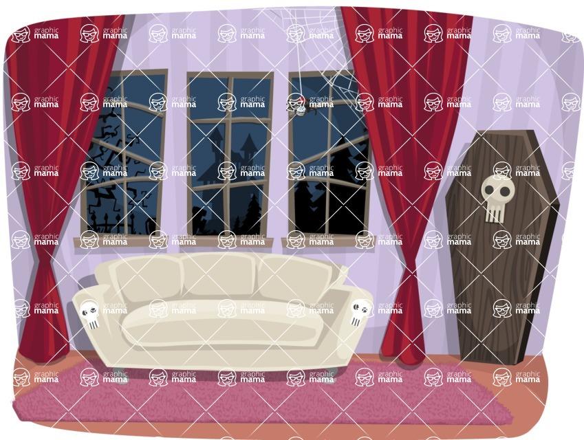 Halloween vector pack - Vampire Living Room Illustration