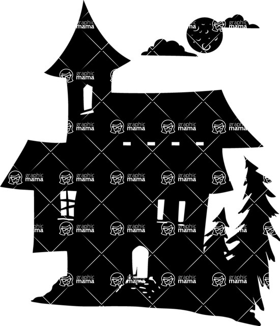 Halloween vector pack - Witch House Silhouette