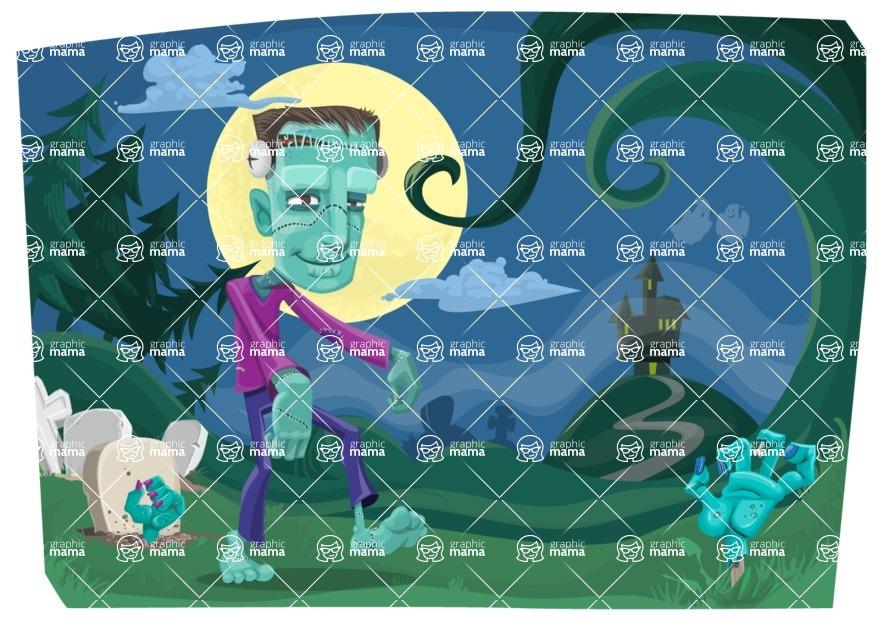 Halloween vector pack - Zombies in Graveyard