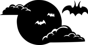 Bats Over Moon Silhouette