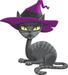 Halloween vector pack - Cat with a Witch Hat