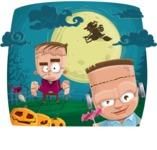 Halloween vector pack - Frankenstein Zombie Kids on Halloween