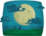 Halloween vector pack - Moon Night Scenery