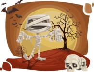 Halloween vector pack - Mummy Walking on Halloween