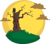 Halloween vector pack - Owl on a Dead Tree