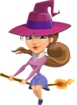 Halloween vector pack - Pretty Witch on a Fire Broom