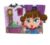 Halloween vector pack - Vampire Girl in Castle