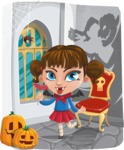 Halloween vector pack - Vampire Girl in Dracula Castle
