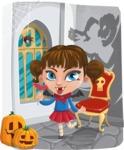 Halloween vector pack - Vampire Girl in Dracula Castle
