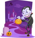 Halloween vector pack - Vampire Outside Castle