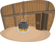 Halloween vector pack - Witch Cauldron in a Room