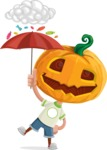 Cute Halloween Kid with Pumpkin Cartoon Vector Character - and Candies Raining Concept