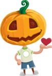 Cute Halloween Kid with Pumpkin Cartoon Vector Character - Being Cute with Love Heart