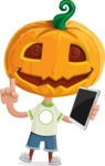 Cute Halloween Kid with Pumpkin Cartoon Vector Character - Being Modern with a Tablet